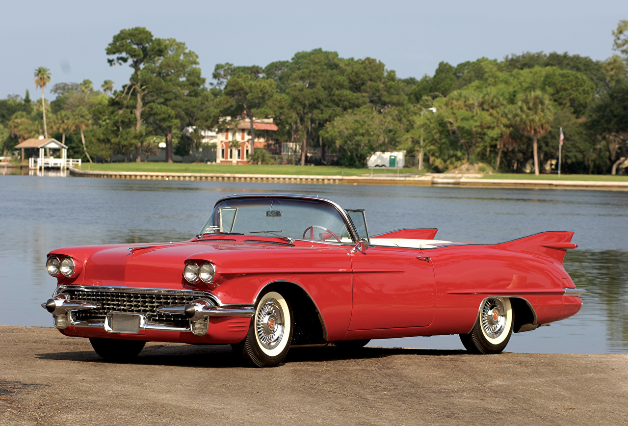 Фотография Cadillac 1958 Eldorado Biarritz The Raindrop Dream Car Кабриолет винтаж Красный авто Кадиллак кабриолета Ретро красная красные красных старинные машина машины Автомобили автомобиль