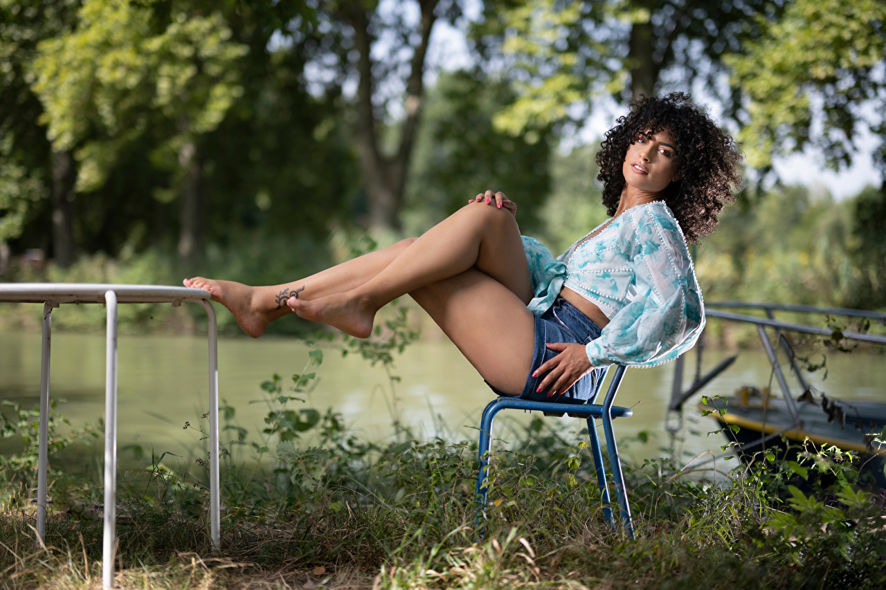 Картинка брюнетки Laurine Поза кудри Блузка девушка ног стул Сидит Взгляд Брюнетка брюнеток Кудрявые позирует Девушки молодая женщина молодые женщины Ноги сидя Стулья сидящие смотрит смотрят