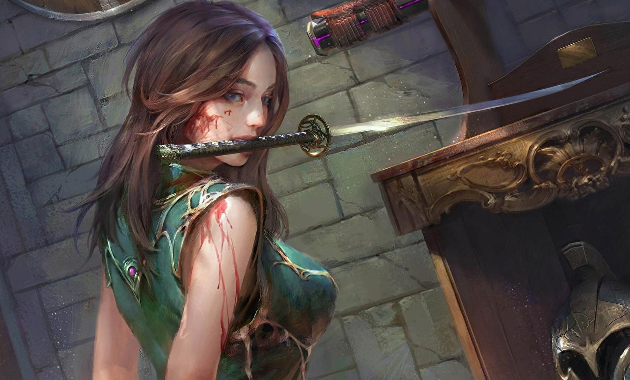 Картинка меч Шатенка крови Катана Фэнтези молодая женщина Рисованные Мечи меча с мечом шатенки Кровь Девушки девушка Фантастика молодые женщины
