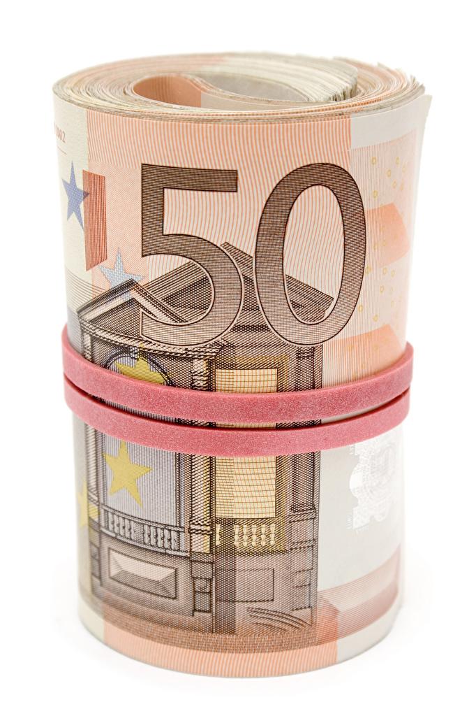 Картинки Евро Банкноты 50 Деньги Белый фон  для мобильного телефона Купюры белом фоне белым фоном