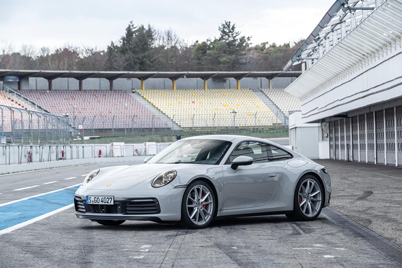Фото Porsche 2019 911 Carrera S Worldwide серые авто Металлик Порше Серый серая машина машины автомобиль Автомобили