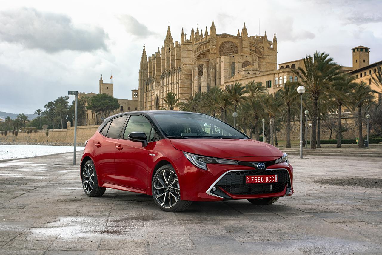Картинка Toyota 2019 Corolla Hybrid Worldwide Гибридный автомобиль Красный Металлик Автомобили Тойота Авто Машины