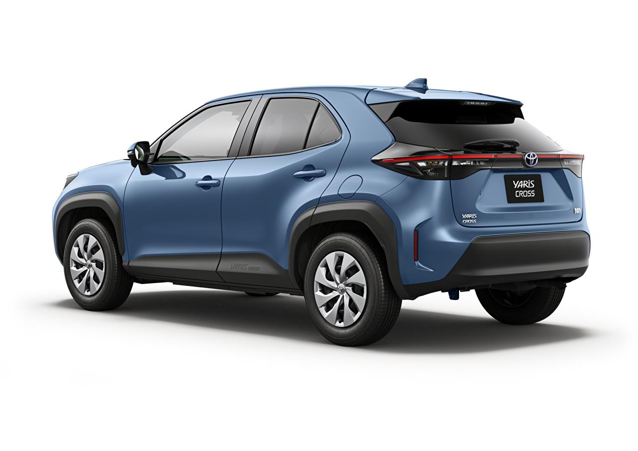 Фотография Toyota CUV Yaris Cross Hybrid X, JP-spec, 2020 синяя машина Металлик белым фоном Тойота Кроссовер Синий синие синих авто машины Автомобили автомобиль Белый фон белом фоне
