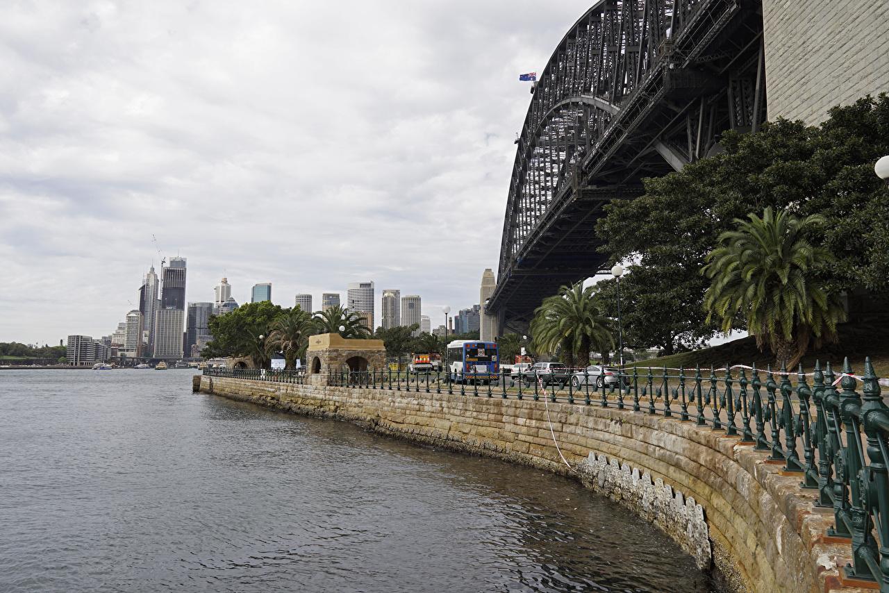 Обои для рабочего стола забором Австралия Сидней город Мосты Дома Забор забора ограда Города мост Здания