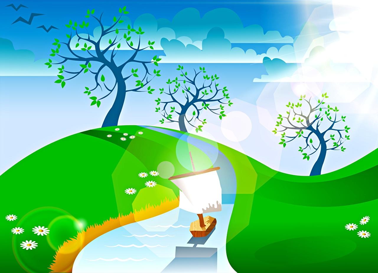 Фотография Лето Ручей Природа Небо облако Деревья Векторная графика ручеек Облака дерево дерева облачно деревьев