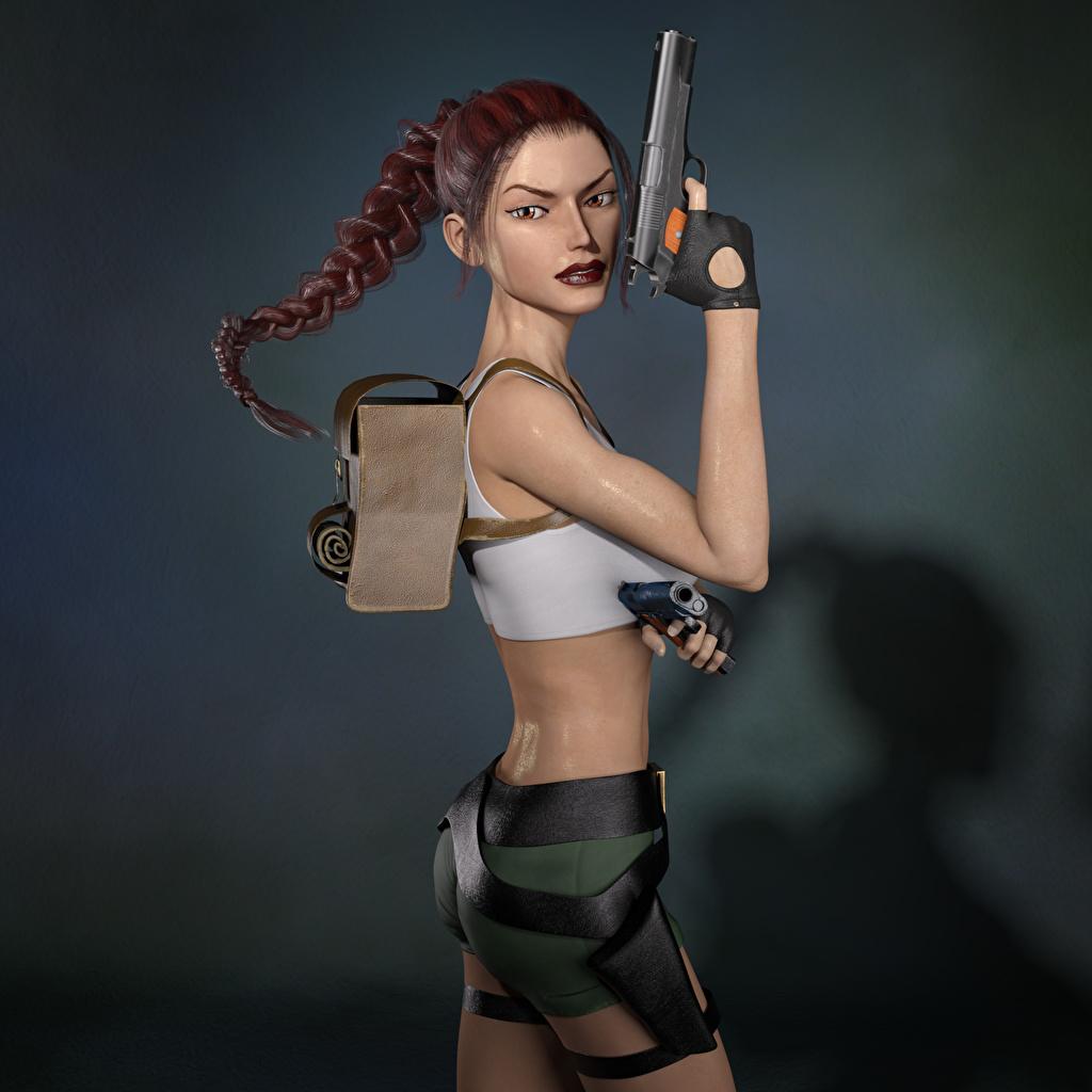 Фото Tomb Raider Tomb Raider Legend Лара Крофт пистолетом косички 3д молодые женщины Игры пистолет Пистолеты косы Коса Девушки девушка 3D Графика молодая женщина компьютерная игра