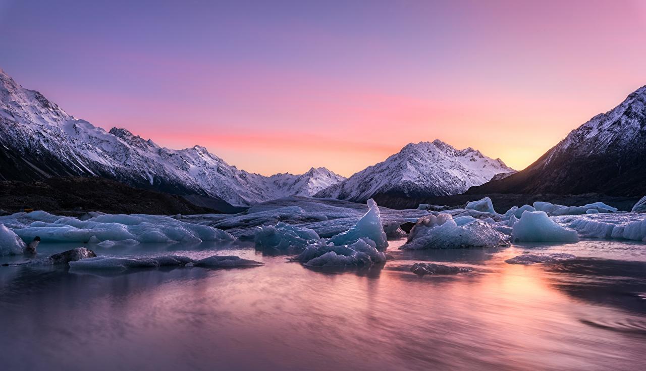 Картинки Новая Зеландия Lake Tasman льда Природа Озеро Рассветы и закаты Лед рассвет и закат