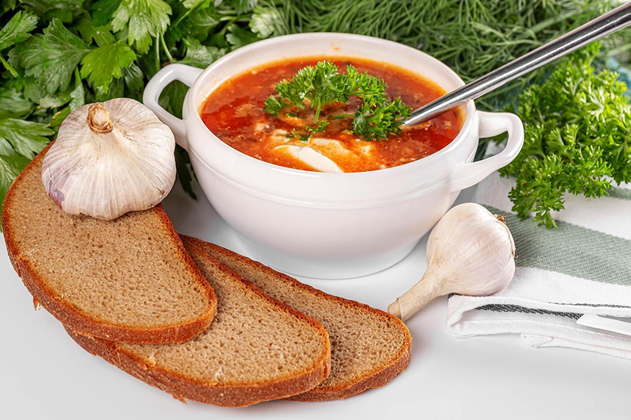 Картинка Борщ Хлеб Чеснок Супы Продукты питания Еда Пища