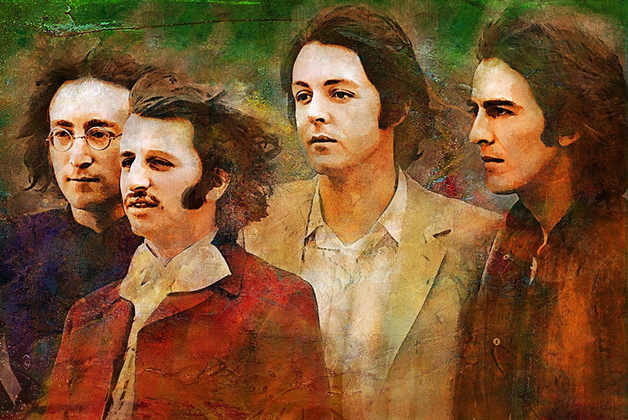 Фотографии The Beatles Мужчины john Lennon, Paul McCartney, George Harrison, Ringo Starr Музыка Рисованные Знаменитости Битлз мужчина