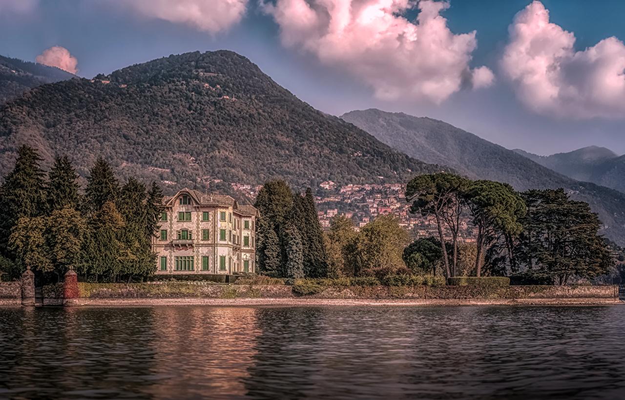 Фото Вилла Италия Villa Erba Lake Como Горы Озеро Дома город гора Города Здания