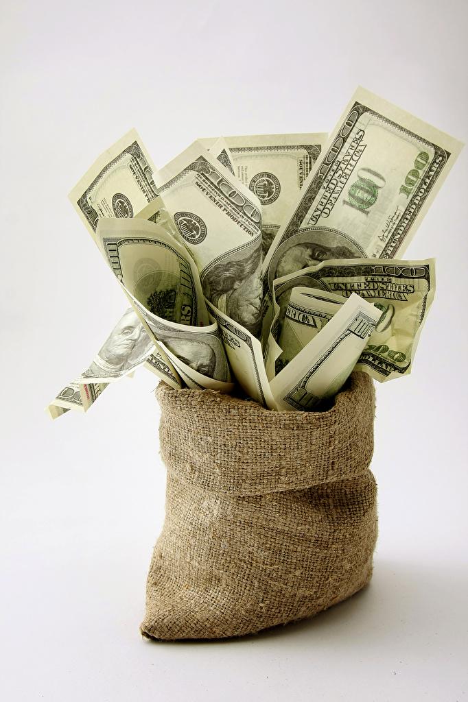 Картинки Купюры Доллары Деньги сером фоне Банкноты Серый фон