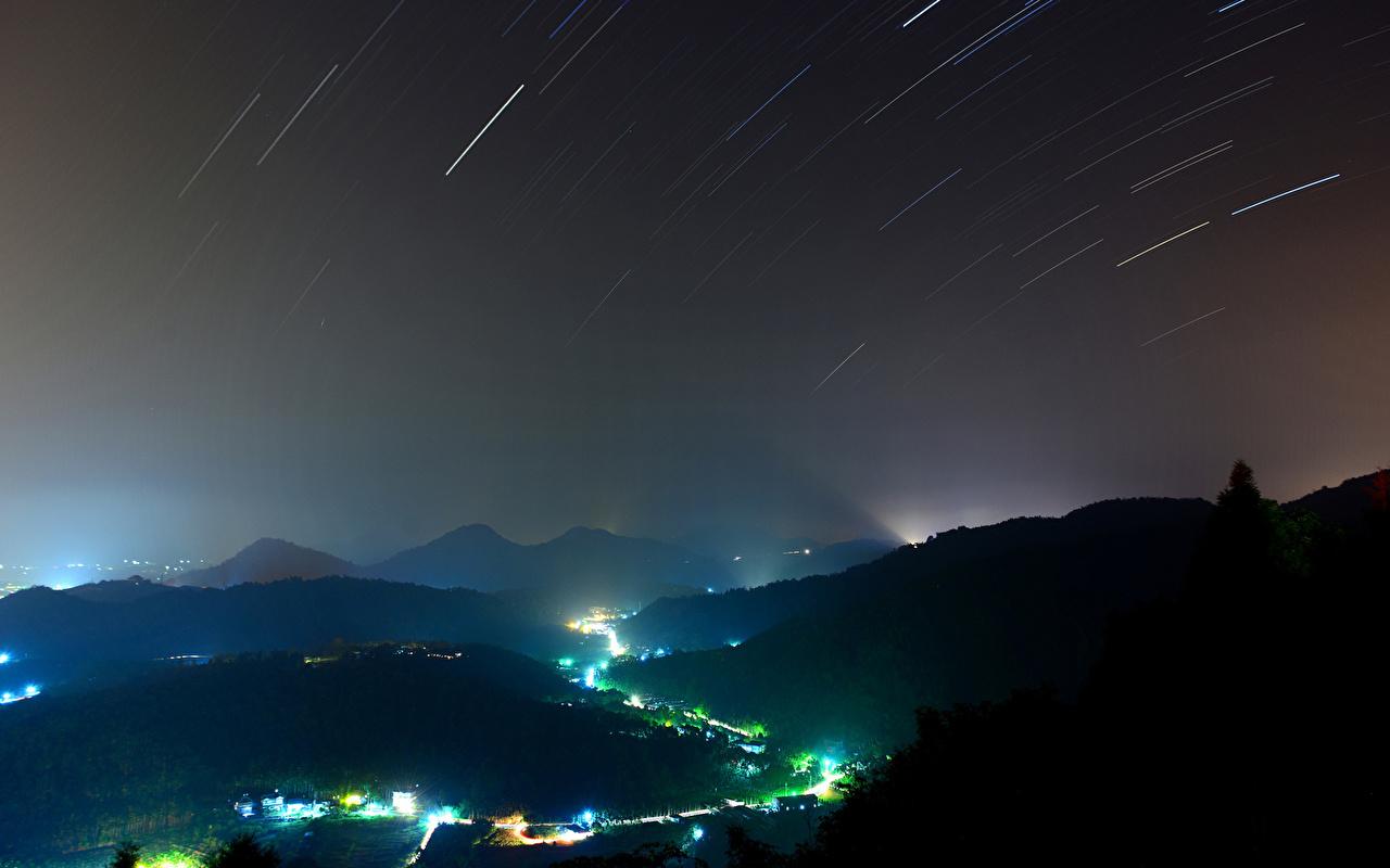 Фотография гора Природа Небо Ночные Горы Ночь ночью в ночи