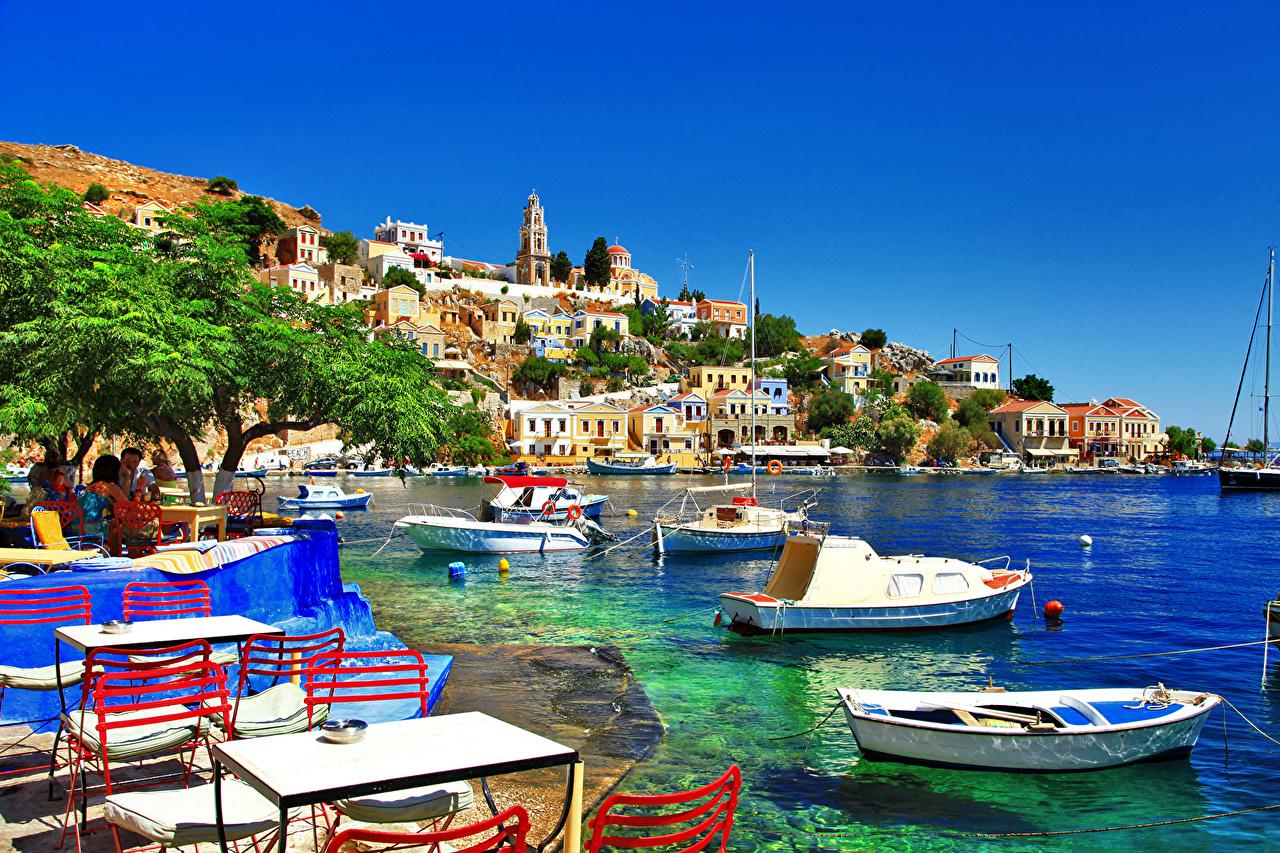 Фотографии Греция Symi island Лодки Катера Здания Города Дома город