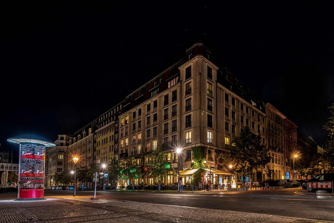 Обои германия, berlin, ночь, фонари, улица. Города foto 6