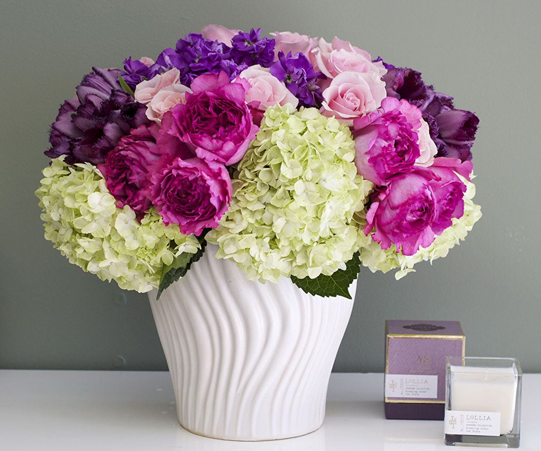 Фотографии букет Розы тюльпан вазы Гортензия цветок Букеты роза Тюльпаны Ваза вазе Цветы