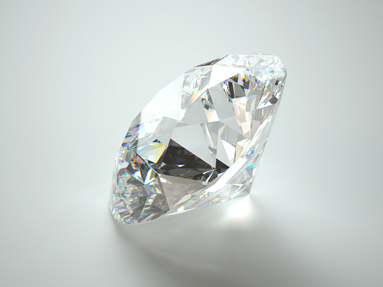 Фотографии алмаз обработанный Серый фон Крупным планом Бриллиант вблизи сером фоне