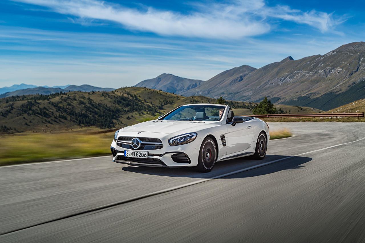 Фото Mercedes-Benz AMG SL-Class R231 Кабриолет гора белые Небо едущая автомобиль Мерседес бенц кабриолета Горы белая Белый белых едет едущий скорость Движение авто машины машина Автомобили