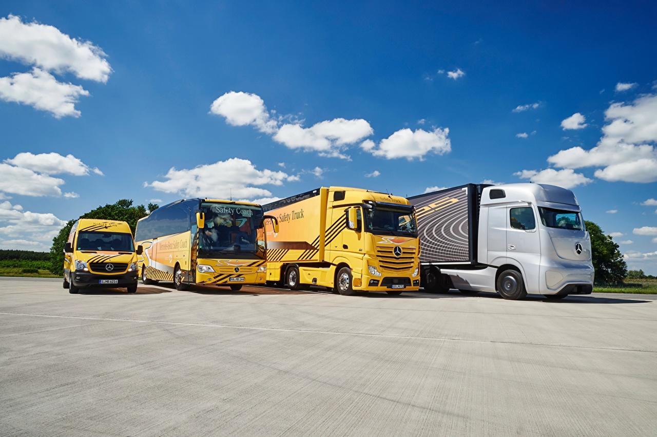 Обои для рабочего стола Mercedes-Benz Автобус Грузовики Actros, Sprinter, Travego Автомобили Мерседес бенц авто машины машина автомобиль