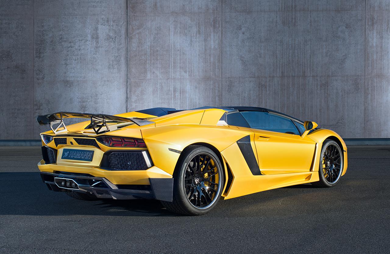 Картинка Ламборгини Hamann Aventador Roadster Limited LB834 Родстер дорогой Желтый вид сзади Автомобили Lamborghini дорогие дорогая люксовые роскошная Роскошные роскошный желтых желтые желтая авто Сзади машина машины автомобиль