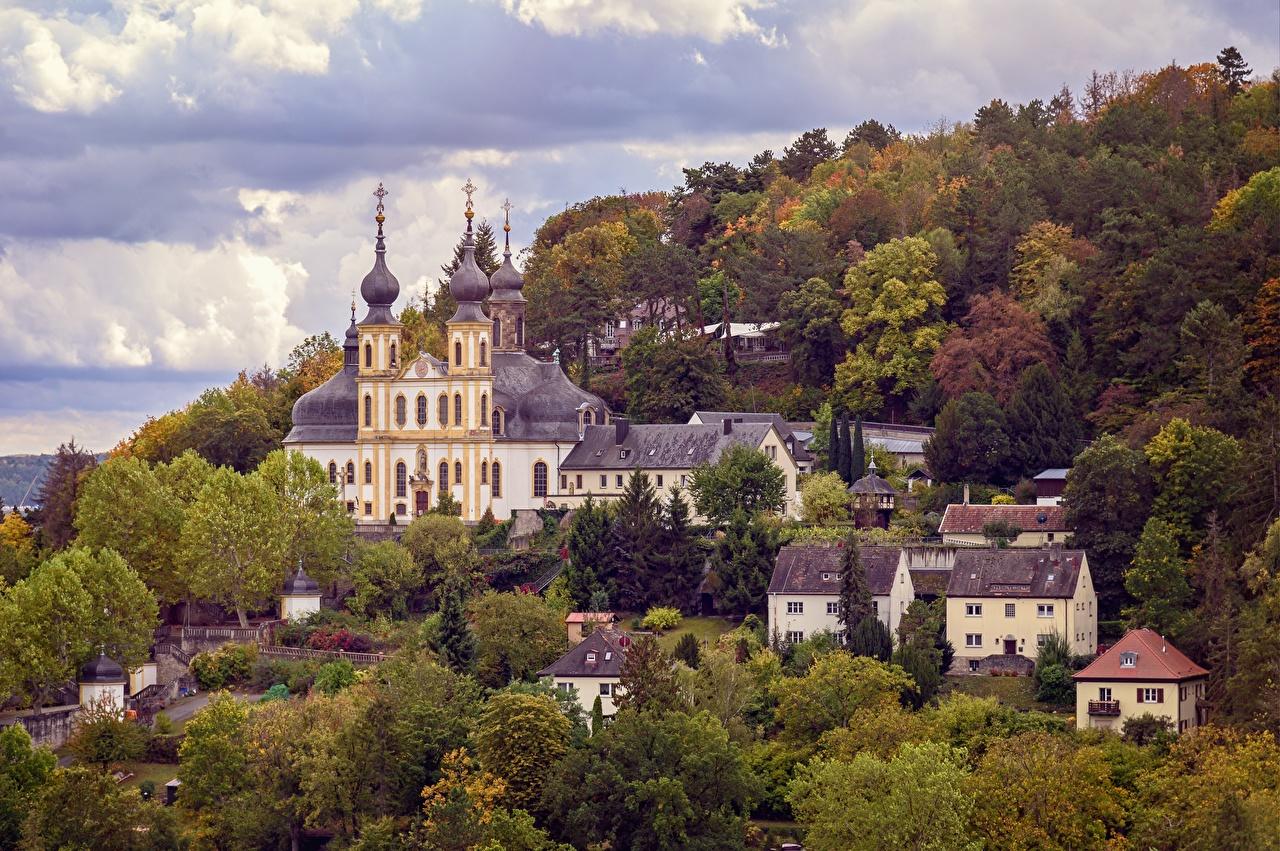 Фотография Церковь Германия Wurzburg The Käppele осенние город Осень Города
