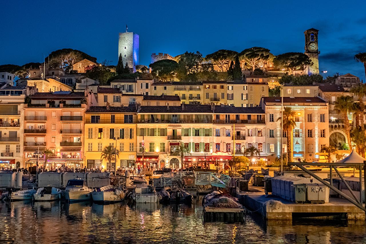 Фото Франция Cannes Вечер Причалы Дома город Пирсы Пристань Города Здания