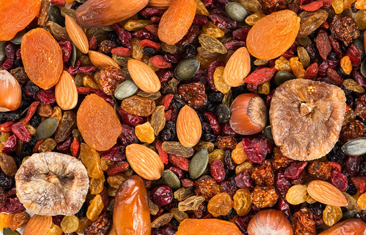 Картинка Пища Текстура Изюм Инжир сухофруктов сушеные абрикосы Орехи Еда Продукты питания Курага Сухофрукты