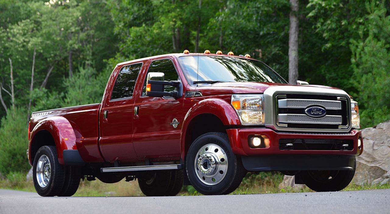 Картинка Форд F-450, Super Duty Platinum Crew Cab, 2015 Пикап кузов красные Автомобили Ford красная Красный красных авто машины машина автомобиль