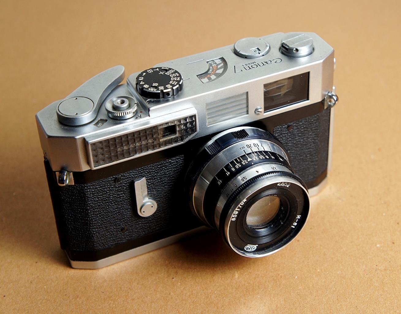 Фотографии Фотоаппарат Canon 7 Industar-61 Крупным планом фотокамера вблизи