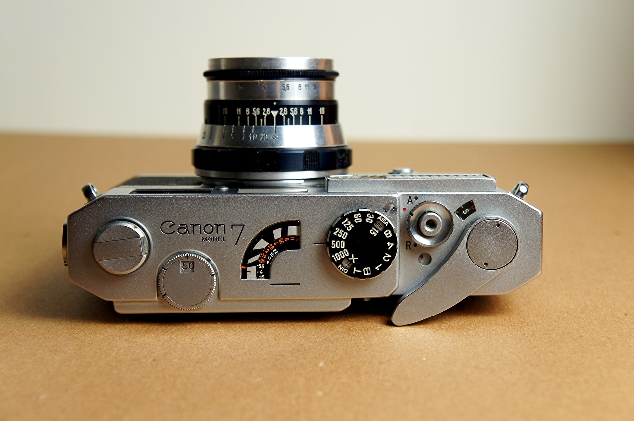 Фотография Фотоаппарат Canon 7 Industar-61 Крупным планом фотокамера вблизи