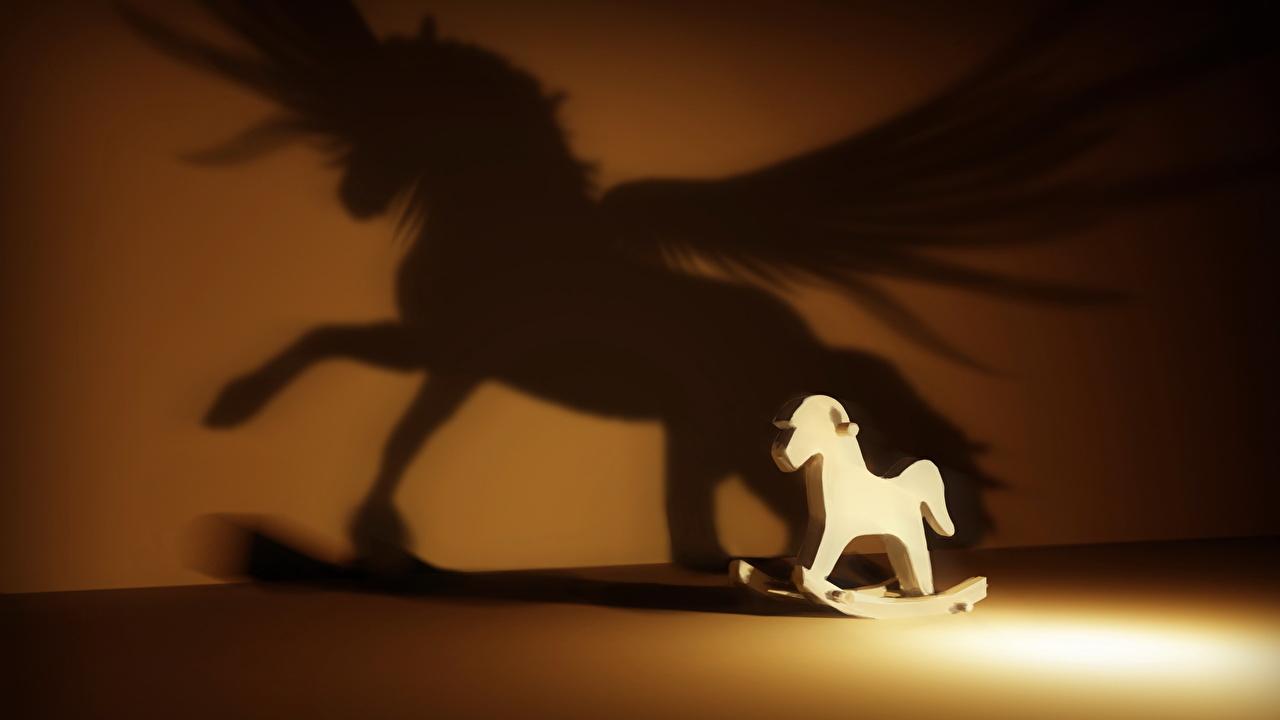 Фотографии Пегас Лошади силуэты Фантастика Игрушки лошадь Силуэт силуэта Фэнтези игрушка