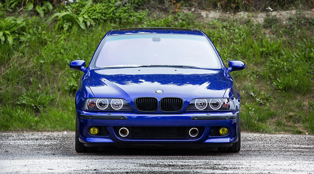 Картинки BMW m5 e39 синяя Спереди Автомобили БМВ Синий синие синих авто машины машина автомобиль