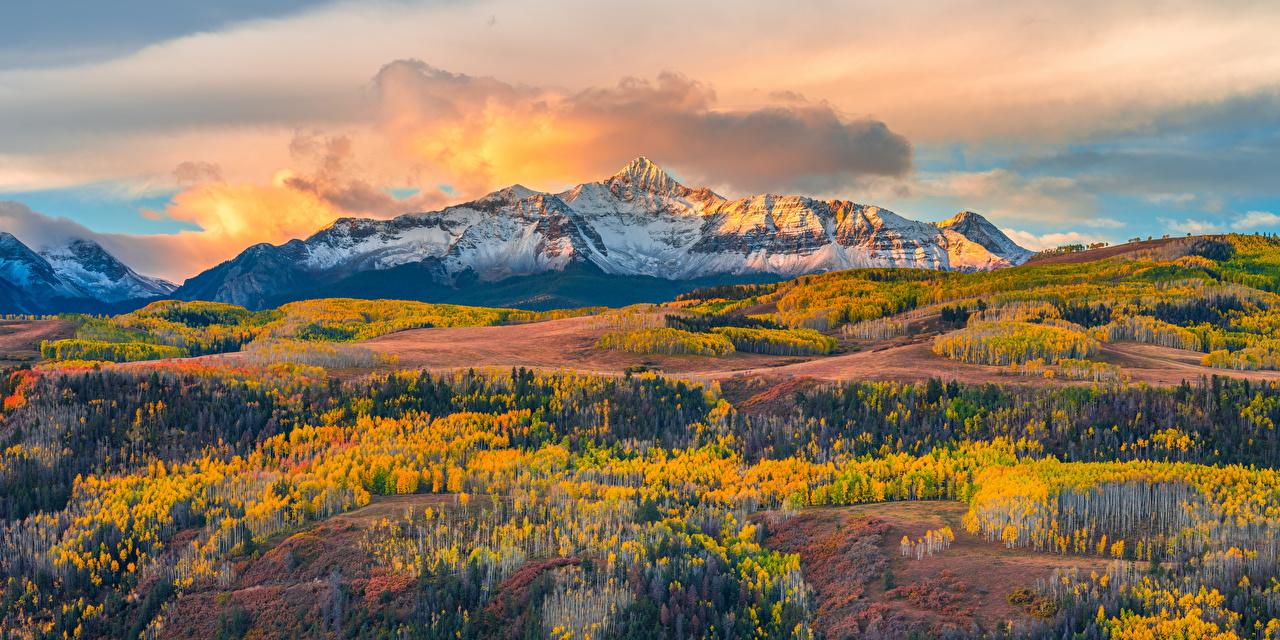 Картинки америка Wilson Peak, Colorado Горы осенние Природа Пейзаж Облака США штаты гора Осень облако облачно