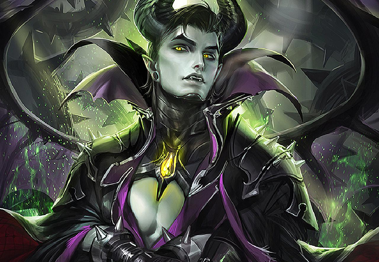 Картинка Мужчины Рога Maleficent Фэнтези Взгляд Рисованные мужчина с рогами Фантастика смотрит смотрят
