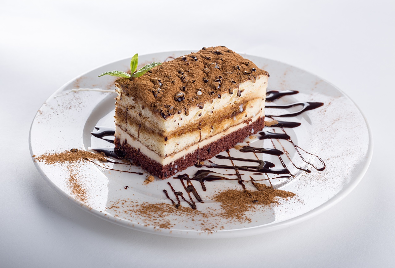 Фотографии Торты Какао порошок кусочек Еда Тарелка часть Кусок кусочки Пища тарелке Продукты питания
