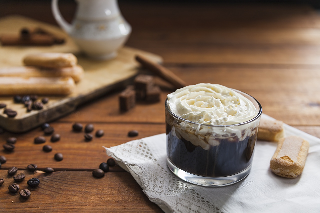 Картинки Кофе Сливки Еда сливками Пища Продукты питания