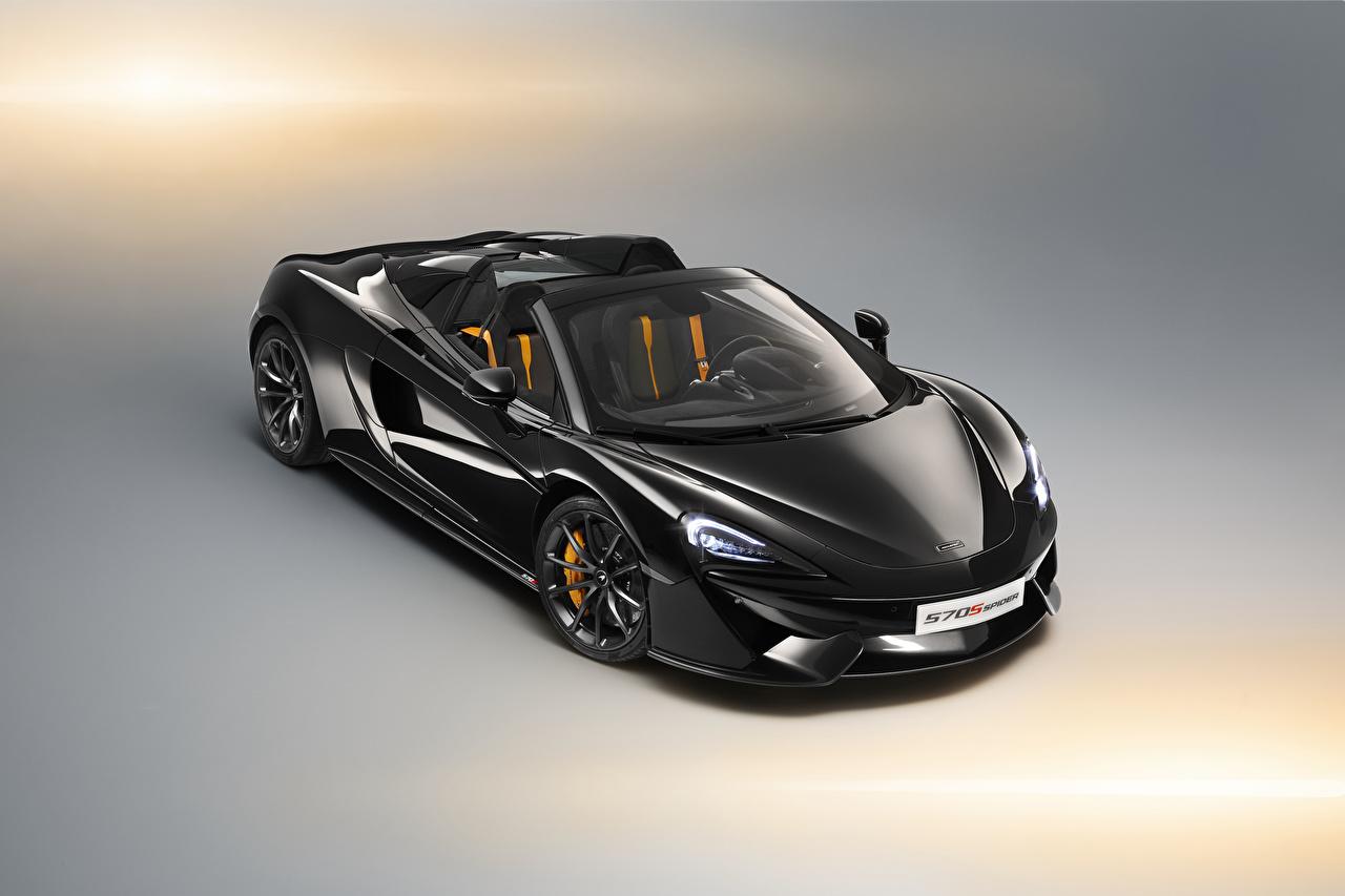 Обои для рабочего стола Макларен 570s Родстер черные машина Металлик McLaren черных Черный черная авто машины автомобиль Автомобили