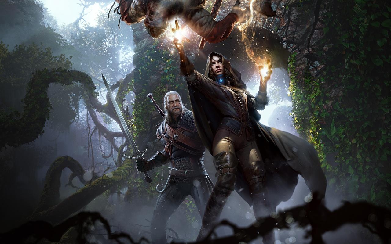 Картинки The Witcher 3: Wild Hunt Мечи Колдун волшебство Геральт из Ривии Yennefer Девушки Фэнтези Игры Ведьмак 3: Дикая Охота Магия чародей Маг волшебник Фантастика