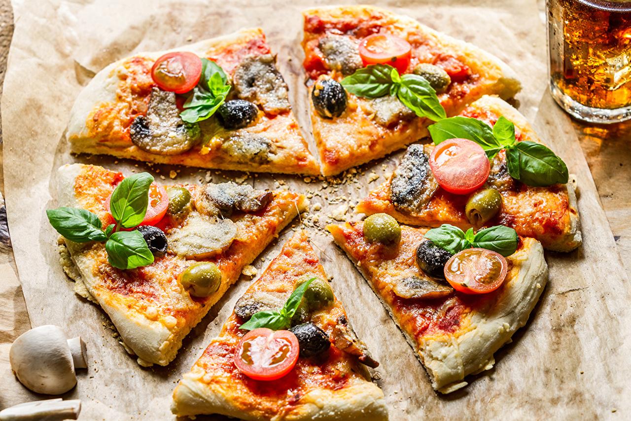 Картинка Продукты питания Пицца Томаты Грибы Базилик душистый Еда Пища Помидоры