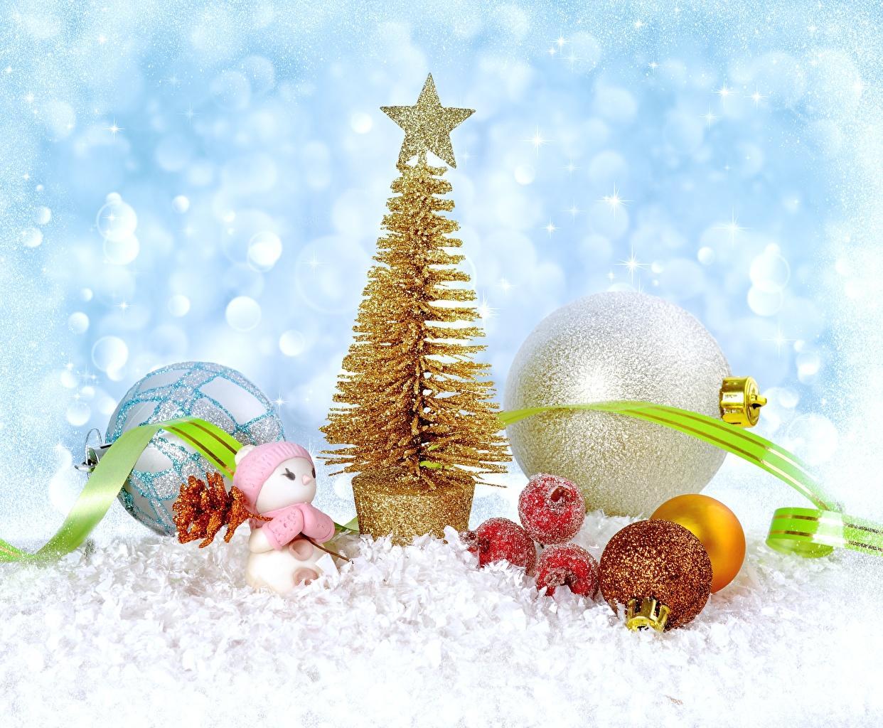 Фото Новый год Звездочки Снеговики Шарики ленточка Рождество Шар Лента