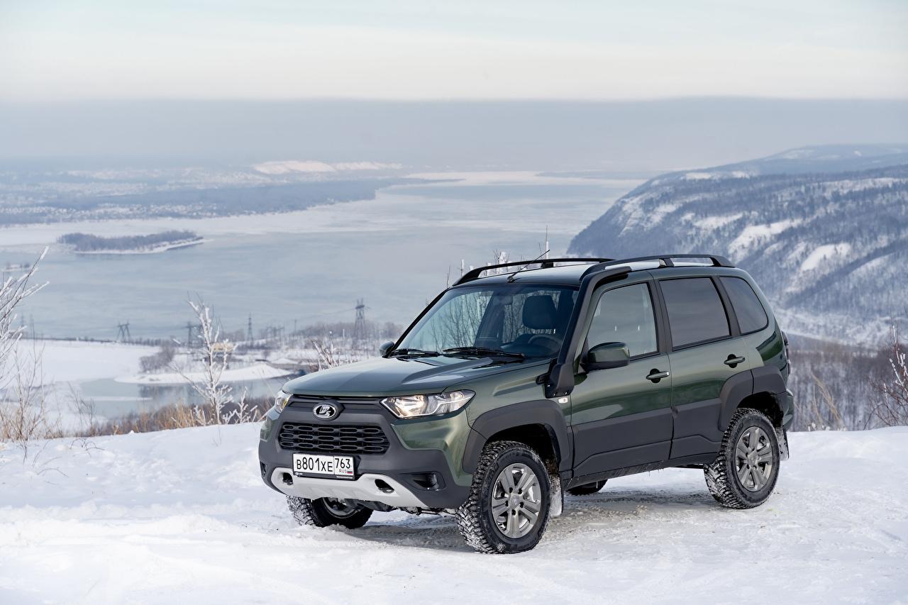 Картинки Лада SUV Niva Travel Off-Road, 2020 Снег машина Металлик Внедорожник снега снегу снеге авто машины Автомобили автомобиль