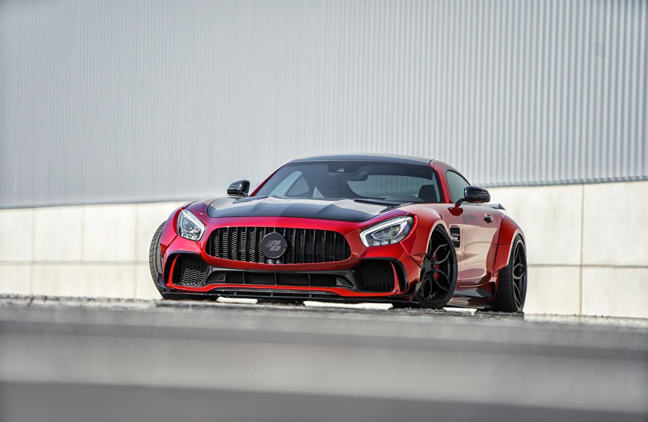Картинки Мерседес бенц AMG GT красная машины Спереди Металлик Mercedes-Benz Красный красные красных авто машина Автомобили автомобиль