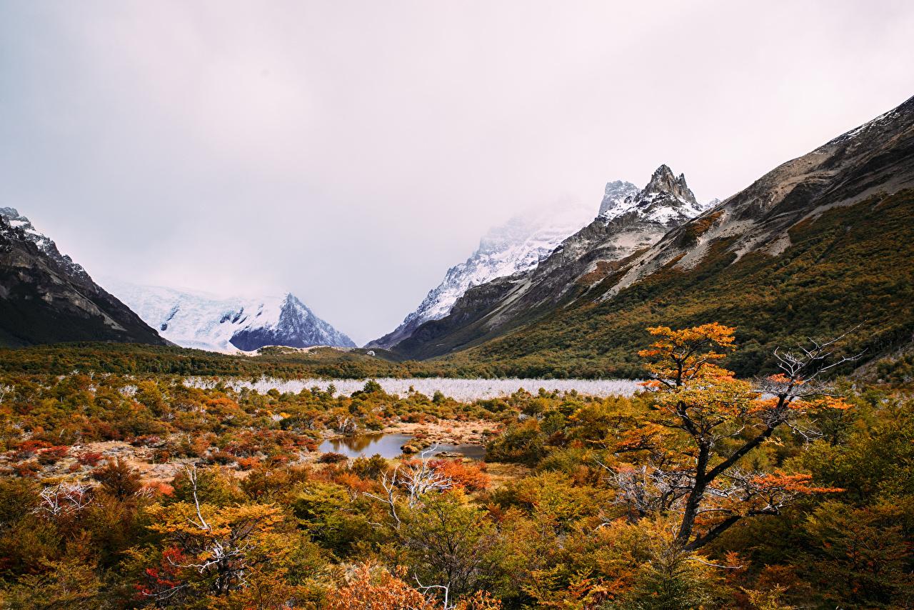 Картинки Аргентина Laguna Torre гора Природа осенние Озеро Горы Осень
