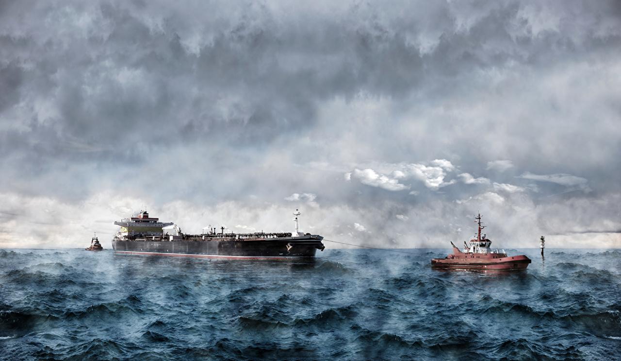 Картинки Танкер Море Волны Корабли облако корабль Облака облачно