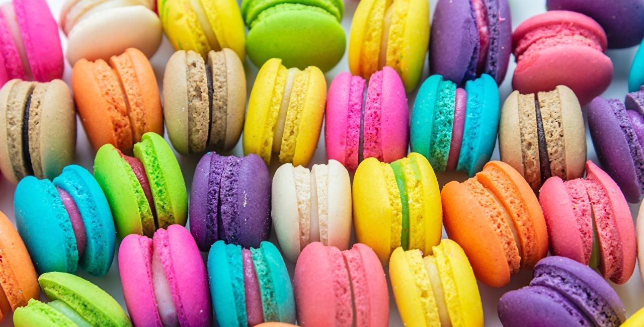 Картинки Макарон Разноцветные Печенье Продукты питания Еда Пища
