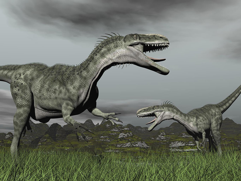 Картинки Динозавры Двое 3D Графика траве Животные динозавр 2 3д два две вдвоем Трава животное