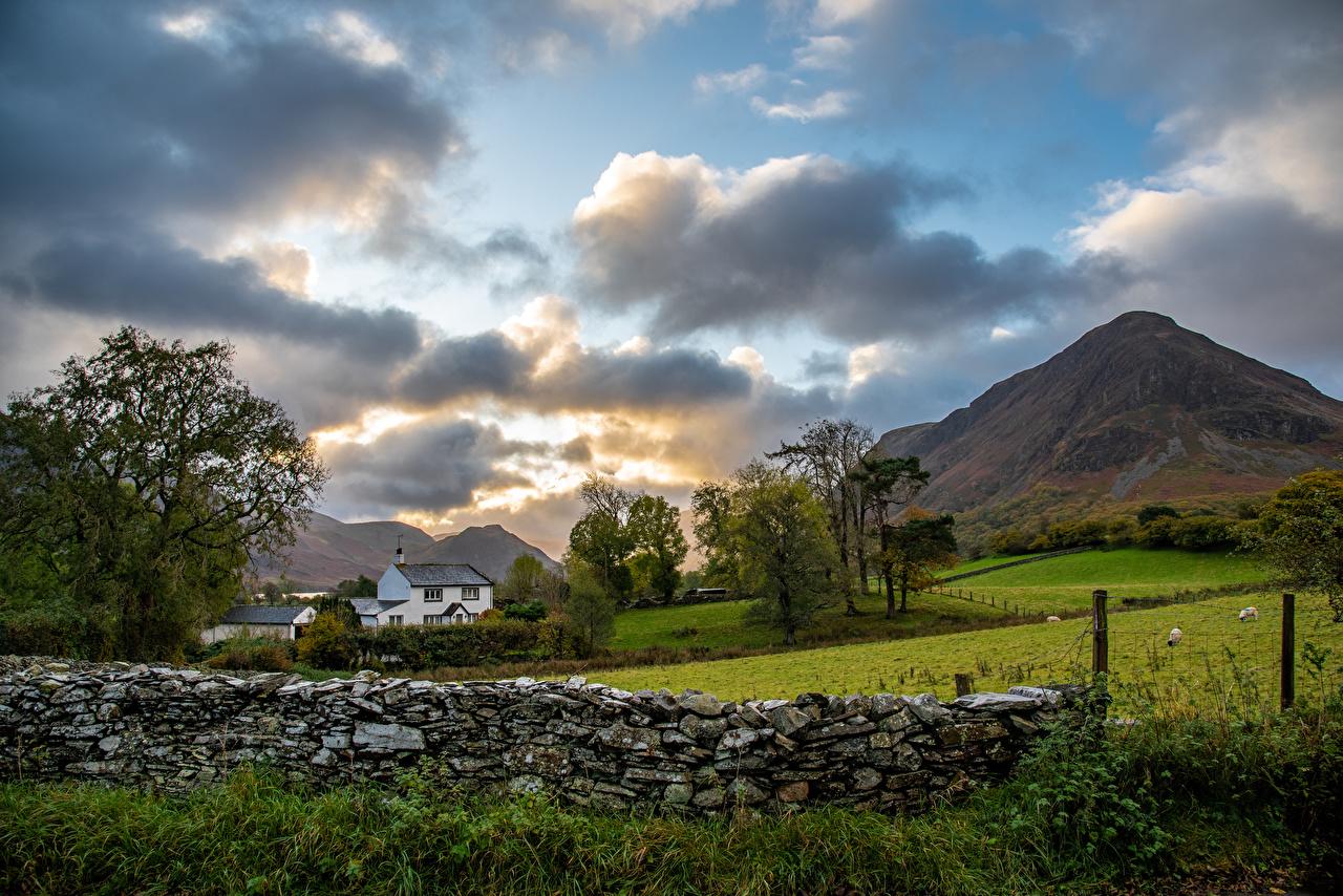 Фото Англия Lake District, Cumbria Горы Природа Парки Забор Каменные Облака гора парк ограда забора забором из камня облако облачно