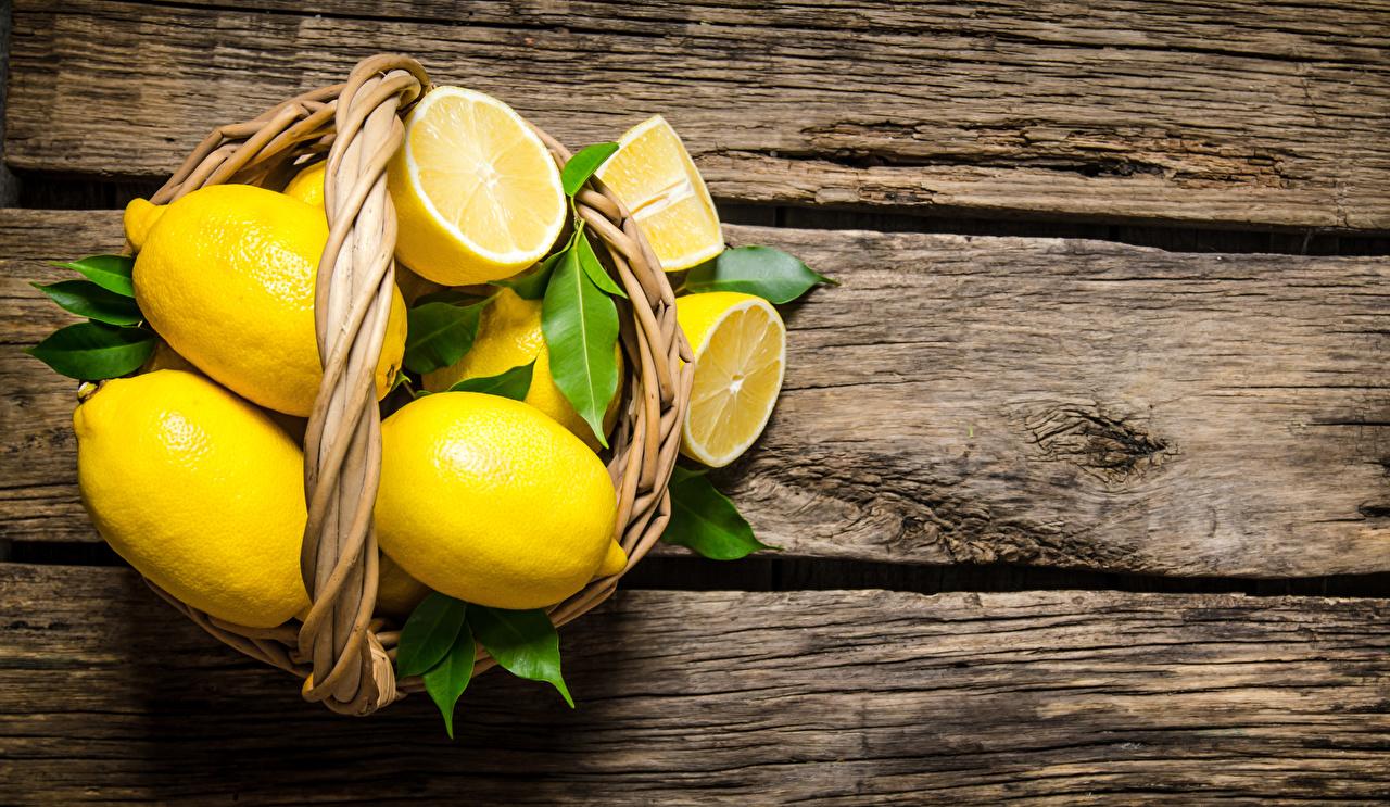 Картинки Лимоны Корзина Пища Доски корзины Корзинка Еда Продукты питания