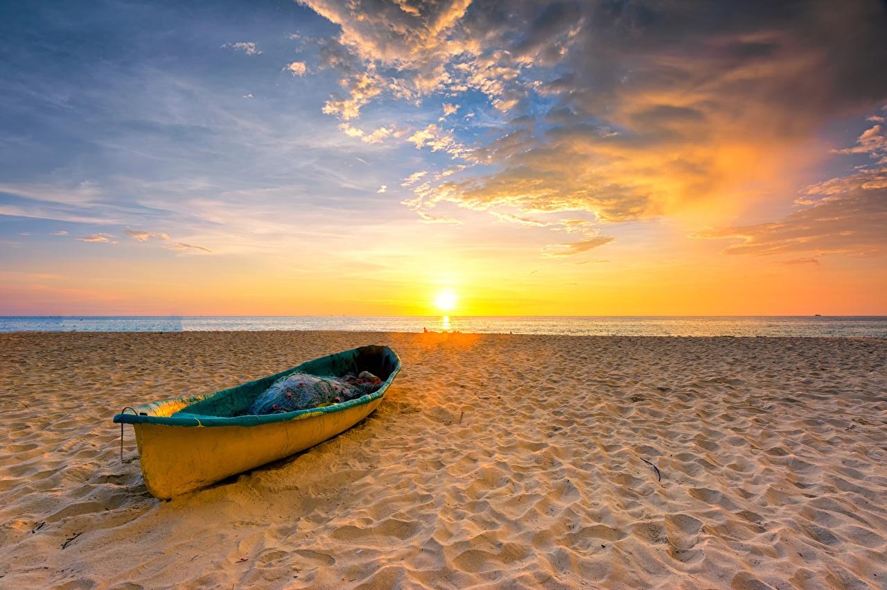 Фотография Пляж Солнце Природа Небо Рассветы и закаты Лодки