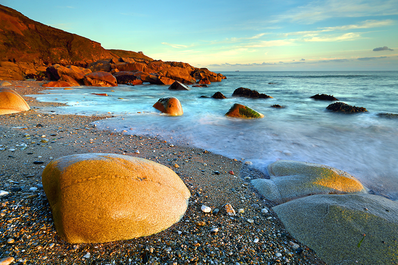 Фотография Природа Песок воде Камни берег песка песке Вода Камень Побережье