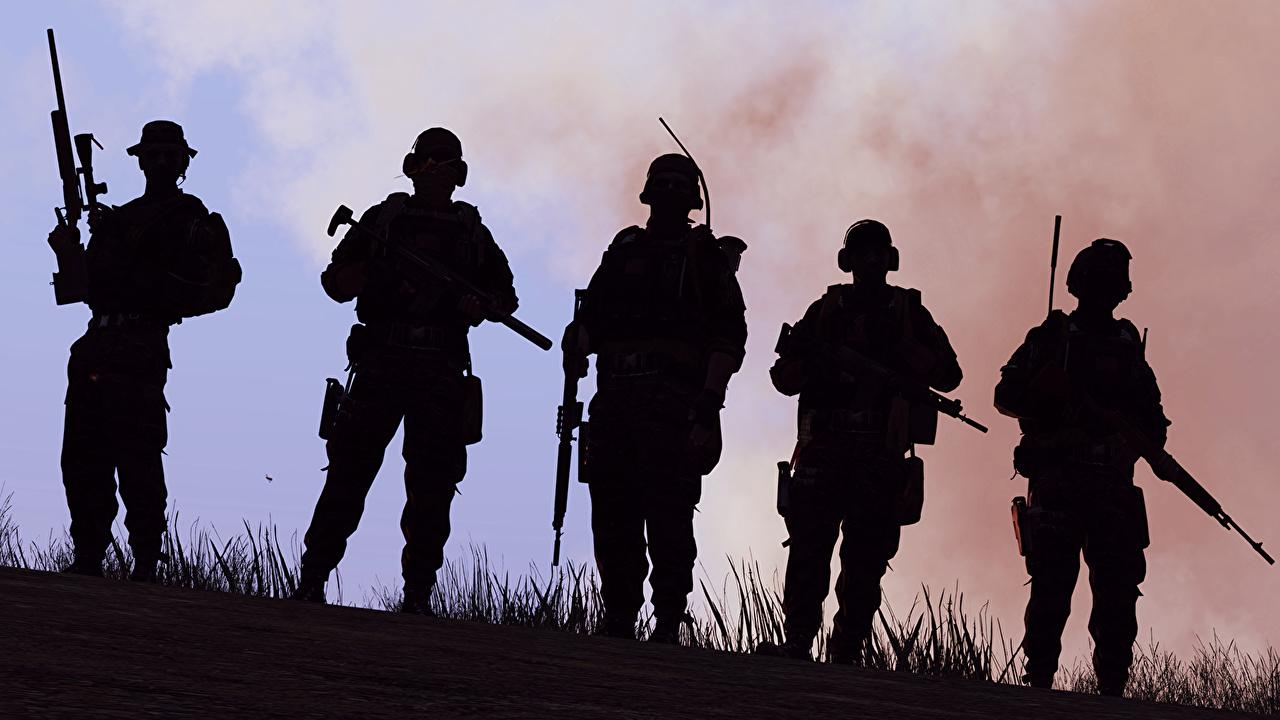 Обои ArmA Солдаты силуэты 3 Игры Силуэт силуэта компьютерная игра